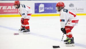 two hockey players on ice