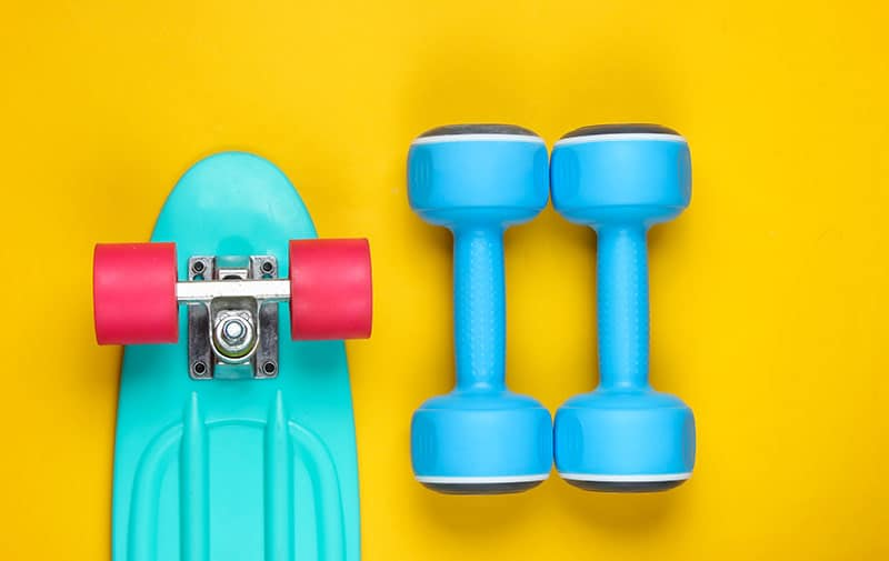 skateboard and weights