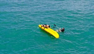getting back in kayak
