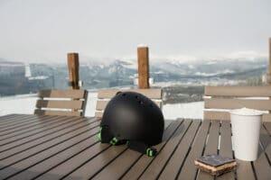 ski helmet on table