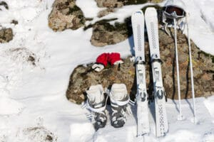 ski equipment on snow