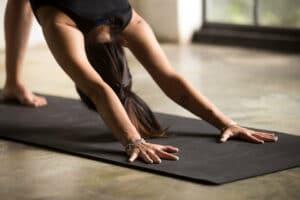 women doing beginner yoga pose
