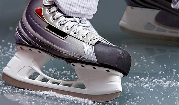 hockey skate close up on ice
